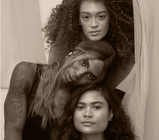 A picture of Emma, Gracie and Saida, Humanist Beauty models