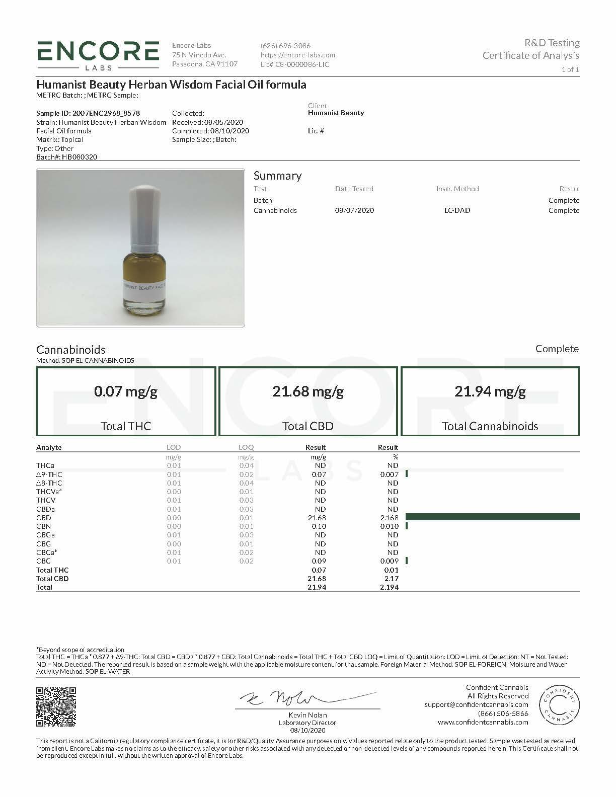Humanist Beauty Herban Wisdom Facial Oil CBD COA
