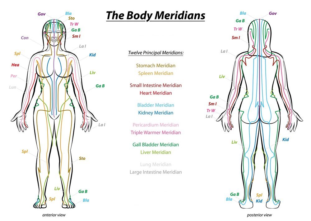 A diagram of the Body Meridians for flow of Qi in Acupuncture
