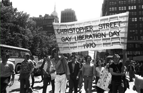 A black & white photo taken at the Christoper Street Gay Liberation Day Parade, 1970