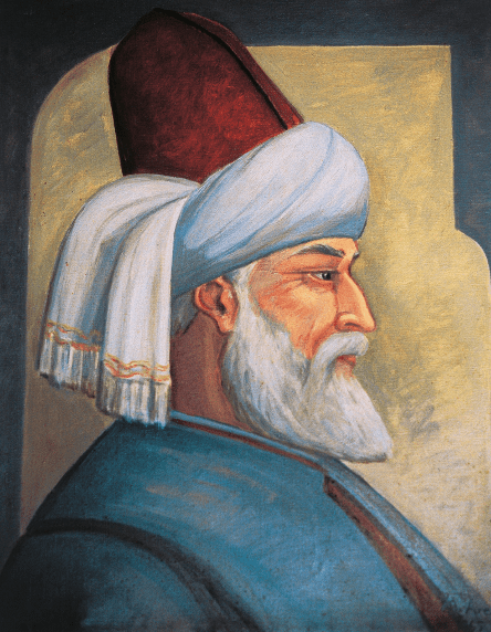 A portrait painting of Rumi