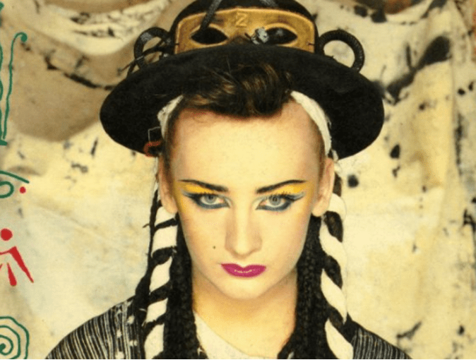 Boy George wearing makeup in the 1980s