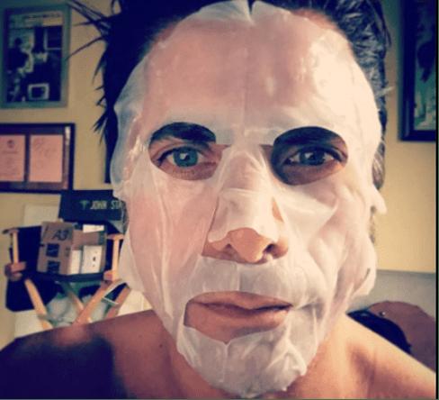 John Stamos in men's face mask
